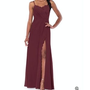 Azazie Tegan Bridesmaid Dress (CABERNET) Size A2